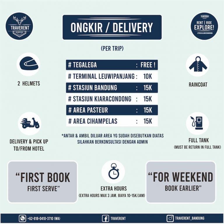 Ongkir / Delivery - Sewa Motor di Bandung